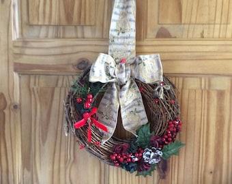Wall decor Christmas festive twiggy wreath wall hanging, wall art vintage shabby chic style