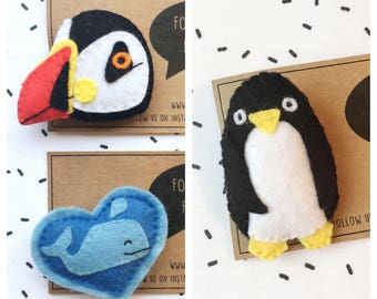 Blue Planet Brooch - Whale Brooch - Penguin Badge - Puffin Brooch - Seabird - Ocean Wildlife - Felt Badge - Cute Pin - Kawaii - Sea Life
