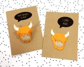Felt Highland Cow Card - I Love Moo You Card - Happy Birthday To Moo Card - Anniversary - Felt Pun Card - Felt Cattle Cow Badge Brooch Pin