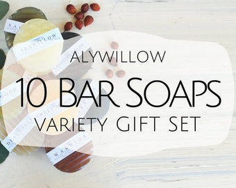 Set of 10 Vegan BAR SOAPS of pure PLANTS || no lye, no charcoal, no artificial ingredients || Sensitive Skin || For your hair, face & body