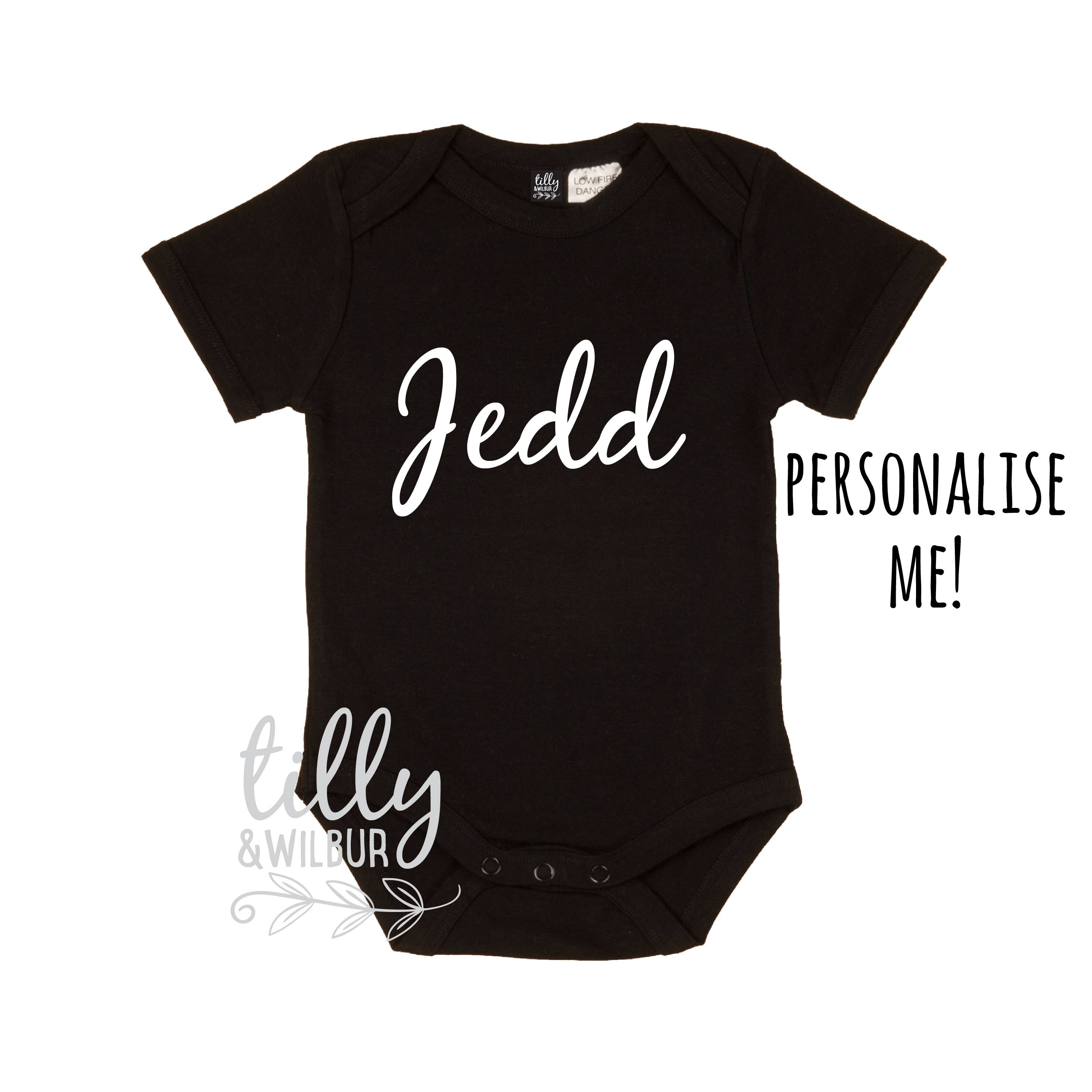 Tillywilbur personalised clothing gifts personalised baby bodysuit with your choice of name newborn baby gift new baby outfit negle Choice Image