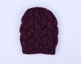 Braided Cable Beanie // Purple