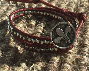 Silver and Red Fleur de lis Wrap Bracelet