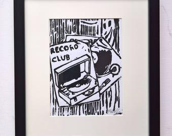 Record Club (Black) A5 Linocut Print