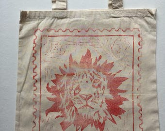 Shiki The Lion (Red) Handprinted Tote Bag