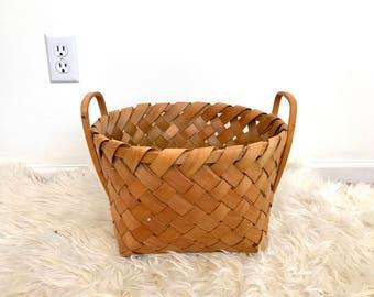 vintage wooden storage basket with handles mid century storage box laundry basket