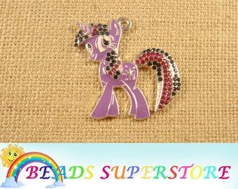 SALE 40 mm x 40 mm Pony Rhinestone Pendant - Chunky Necklace Pendant (RCP16)