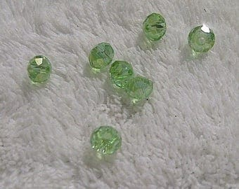 25 4 * 6mm crystal clear green beads