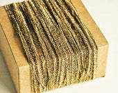 Shimmer Ribbon Twine in Soft Gold - 6 Yards - Sparkle Mesh Sheer Delicate Garland Pretty Packaging Gift Wrapping Wedding Party Decor