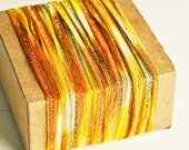 Sparkle Ribbon in Yellow & Orange - 6 Yards - Twine Mesh Sheer Glitter Delicate Garland Pretty Packaging Gift Wrapping Wedding Party Decor