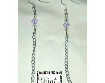New_ Sterling Silver Lavender Swarovski Crystal Chain Earrings