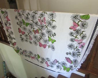 Vintage Twin Bedspread -White with Pink, Green Butterflies, Black Outlined Dandelions -White Fringe Hem - Cone MIlls -Excellent Condition