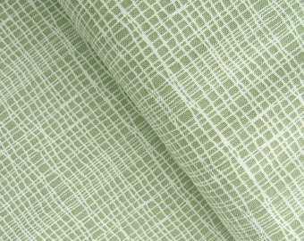 Jane Makower 'Discounted' Inprint Green Check Toner Patchwork Quilting Dressmaking Fabric