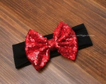 Baby girl headband, red and black, black headbands, red bow headband, sparkle bow, baby head wrap, baby bows, 1st birthday