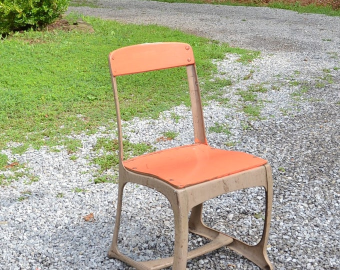Vintage School Chair Child Size Beige Metal Orange Painted Wood Seat and Back Eames Era Mid Century Industrial PanchosPorch