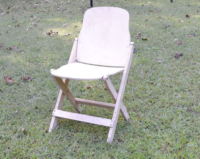 Vintage Wooden Folding Chair American Seating Co White Chippy Paint Art Deco Wood Chair Painted Furniture Panchosporch