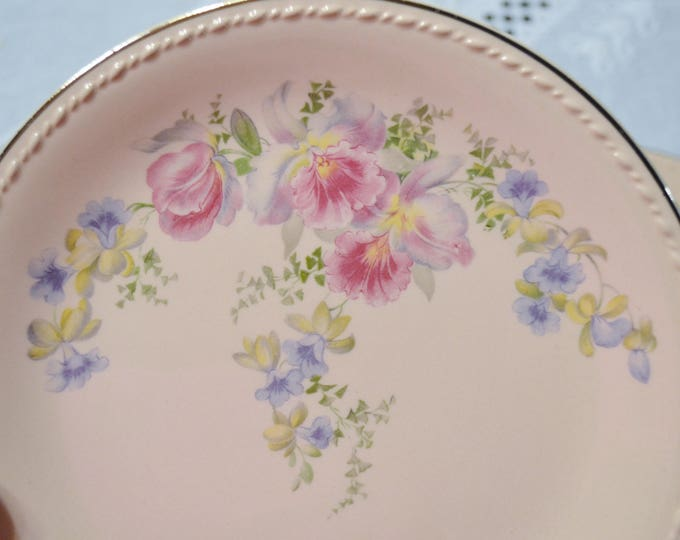 Vintage Taylor Smith Taylor Pink Salad Plate Set of 4 Orchid Iris Floral Pattern TST193 Replacement PanchosPorch