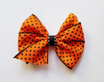 Halloween Hair Bow/Halloween Hair Clip/Girl's hair bow/Fall/Hair Accessories/girls hair bow/hair clip/baby girl/Orange and black polka dot
