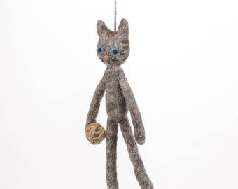 Grey Cat - Felt animals - Needle felted animal - Wool felt - Ethical - Handmade