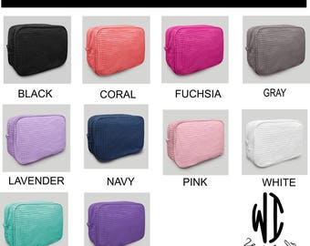 Large Personalized Waffle Weave Cosmetic Bag, Make Up Bag, Gift For Brides, Bridesmaids, gift for woman, sorority, FREE monogram, 10 colors