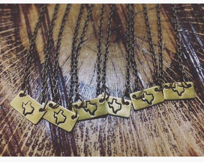 State of Texas Stamped Necklace