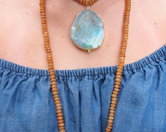 Turq and Burnt Wrap Necklace