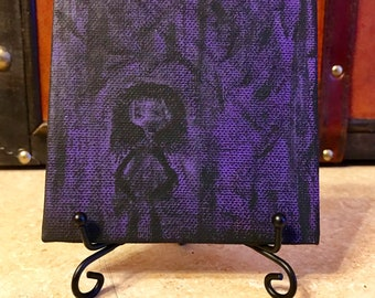 "Lost // Mini 4"" x 4"" Canvas Painting // Acrylic on Canvas // Gothic Art // Anxiety Depicted"