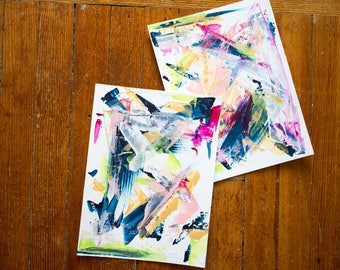 Original Set of Two Canvas Paper, Wall Art and Decor, 9x12, Blue, Lime Green, Pops of Pink