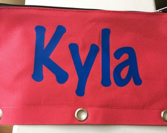 Personalized canvas pencil cases