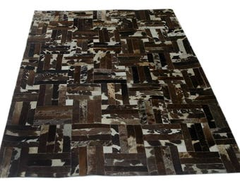 Handmade Cowhide Patchwork Rug - Beautiful Hair On Carpet - Luxurious Rug - R-13