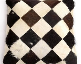 Natural Cowhide Luxurious Patchwork Hairon Cushion/pillow Cover (15''x 15'')a170