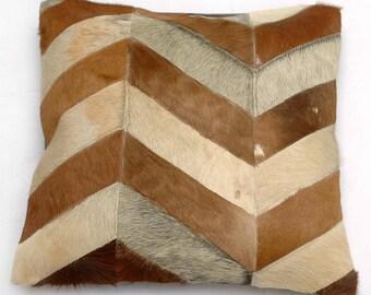 Natural Cowhide Luxurious Patchwork Hairon Cushion/pillow Cover (15''x 15'')a231
