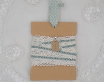 Vintage Trim- Light Green And Off-White - Two Yards