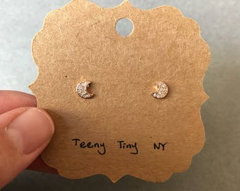Rose Gold Tiny CZ Crescent Moon Stud Earrings Type #3 Rose Gold Plated Over Sterling Silver