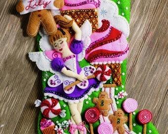 "Bucilla Sugarland Fairy ~ 18"" Felt Christmas Stocking Kit #86714 Sugar Plum DIY"