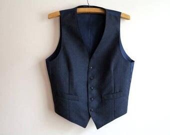 Grey Blue Striped Mens Vest Formal Waistcoat Gentlemen's Steampunk Vest Medium Size
