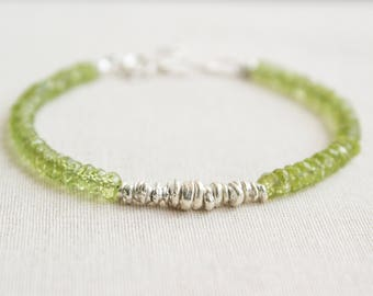 Peridot Sterling Silver Bracelet/ August Birthstone Bracelet