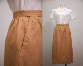 1960s terracotta pencil skirt with pockets