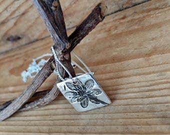 Botanical Collection - Ficaria verna - Lesser Celandine Fine Silver square Pendant