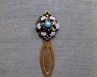 Metal clip bookmark Rustic bookmark Patina flower Slate blue bookmark Rustic flower bookmark