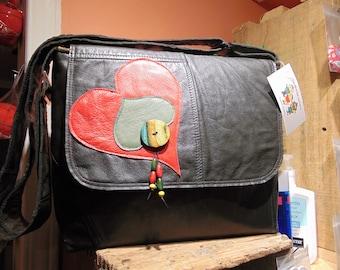 Cute recycled leather adjustable shoulder strap bag