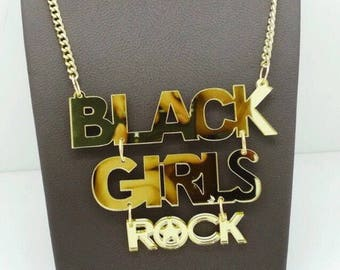 Gold Mirror Black Girls Rock Necklace