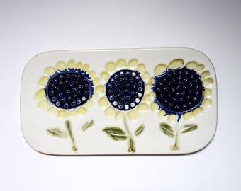 Vintage Bennington Plaque, Ceramic Wall Hanging, David Gil, Sunflowers, Wall Tile Trivet, Bennington Potters, Ceramic Trivet, Vintage Tile