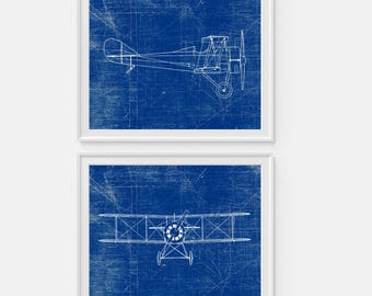 Airplane Art Print, Plane Art, Standard E1 Airplane, Blueprint Wall Art, Aviation Set of Two 5x7, 8X10, 11x14 Nursery Decor, Boys Wall Decor