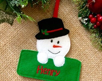 personalised christmas decoration, snowman christmas decoration, christmas decoration, tree decoration, snowman, xmas tree decoration