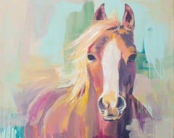 whimsical abstract pink orange horse teal and peach acrylic painting farmhouse art