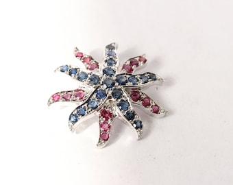 White gold Sapphire & Ruby Sea Star Pendant