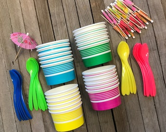Ice Cream Cups, Disposable Treat Dishes and Spoons, Ice Cream Party for 24, Birthday Party Goods