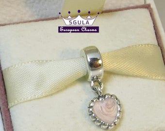 925 Sterling Silver Charm European bead Pink Enamel Heart Dangle Charm ,fit Pandora bracelet and European Bracelets
