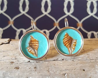 Seashell Miniature Painting Earrings, Hand Painted Earrings, Silver Earrings